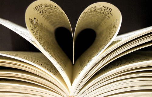 Book pages folded into the shape of a heart