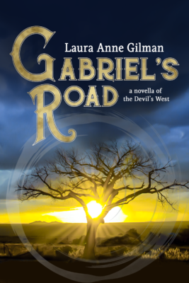 Gabriel's Road cover: a bare-limbed tree in a desert landscape, the sun rising behind it, circled by an ensō.