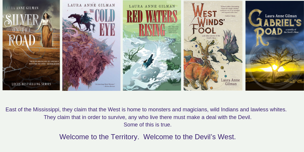 Covers for the 5 titles in the Devil's West universe: Silver on the Road, The Cold Eye, Red Waters Rising, West Winds' Fool and Gabriel's Road.