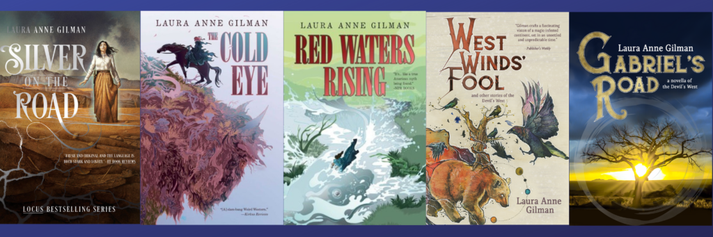 five covers: silver on the road, the cold eye, red waters rising, west winds' fool, and gabriel's road
